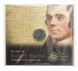 2009 £2 Robert Burns Type 2 Brilliant Uncirculated pack for sale